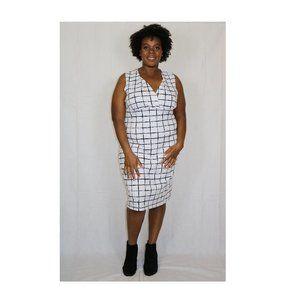 SNAP | Bodycon White w/Black Grid Midi Dress 3X